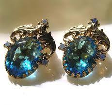 <b>Vintage</b> Oval Faceted Aqua Blue Rhinestone with Goldtone <b>Leaves</b> ...