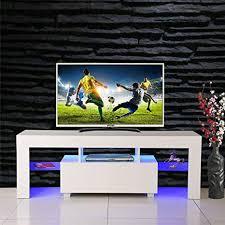 SSLine Modern White TV Stand with LED Light Wood ... - Amazon.com