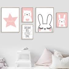 Rabbit Bear Star <b>Dream Big Quotes Wall</b> Art Canvas Painting Nordic ...