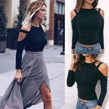 Hirigin <b>Women's Off</b> Shoulder Tops Long Sleeve Shirt Black Colors ...