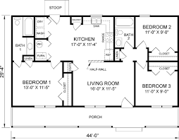 Ranch Style House Plans Square Foot Home Story Bedroom    floor