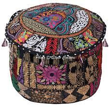 """Stylo Culture <b>Round</b> 16"""" Ethnic <b>Cotton Pouffe Footstool</b> Cover ..."""