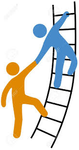 person helping friend or partner join to climb up the ladder person helping friend or partner join to climb up the ladder of success stock vector