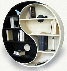 this ying yang bookshelf will keep the balance between good and bad characters in place while looking marvelous in your living room bookshelf furniture design