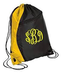 <b>Personalized</b> Monogrammed <b>Drawstring</b> Backpack with <b>Custom</b> Text