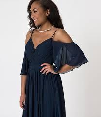 <b>Navy</b> Blue <b>Off The Shoulder</b> Flutter Sleeves Pleated Chiffon Dress ...