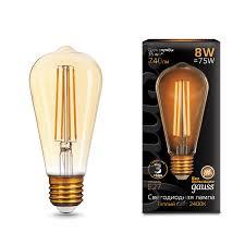 <b>Лампа Gauss</b> LED <b>Filament ST64</b> E27 8W Golden 2400К - Gauss ...