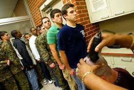 the citizen ier moral risk and the modern military reuters marine corps recruits wait for haircuts at the parris island receiving station in south carolina 5 2005