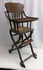 antique wood baby doll high chair folding adjustable stroller cane seat vintage antique high chairs wooden