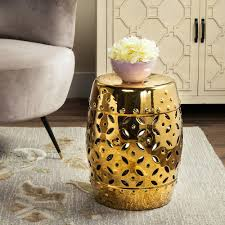 patio stool: lattice coin gold ceramic patio stool
