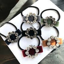 <b>Korea</b> Spring New Style Flower Crystal Elastic <b>Hair</b> Bands Diamond ...