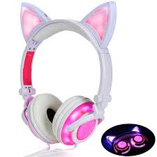 Cute Cat <b>Ear</b> Headset USB Chargeable <b>Foldable LED</b> Glowing Light ...