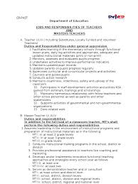 duties and responsibilities of teachers and master teachers