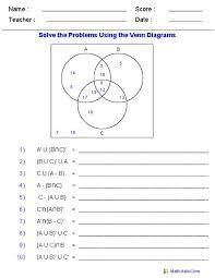 venn diagrams  set notation and worksheets on pinterestvenn diagram worksheets   set notation problems using three sets