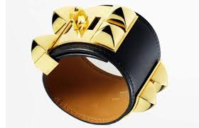 Gold Cuff Hermés Paris in Black leather