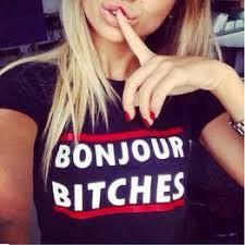 New Fashion Women's Bonjour Bitches Letter Printed T-shirt - Vova