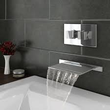 thermostatic brand bathroom: plaza wall mounted waterfall bath filler with concealed thermostatic valve at victorian plumbing uk