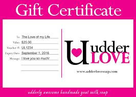 gift certificate udderlove