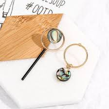 <b>CXW Free shipping</b> Shell alloy asymmetric earrings for women long ...
