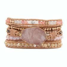 Handmade BOHO Gold <b>Natural Rose Quartz</b> Crystal Beads Leather ...