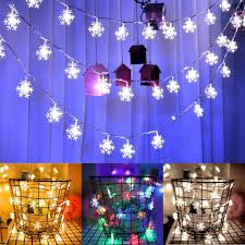 2M 20 LED Battery <b>Snowflake Fairy</b> String Curtain Window Light ...