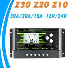 PWM <b>10A 20A 30A</b> Solar Controller <b>12V 24V Auto</b> Backlight LCD ...