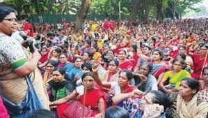 Image result for ಅಂಗನವಾಡಿ ಹೋರಾಟ
