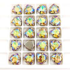 <b>12mm Fat Triangle</b> Light of heaven High quality Glass Crystal sew ...