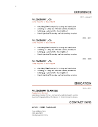 phlebotomy resume red start phlebotomy resume