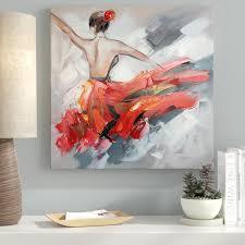 Ebern Designs 'Dancing <b>Girl</b> in <b>Red</b> Dress I' <b>Oil Painting</b> Print on ...