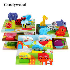 2018 <b>New Wooden Toys</b> Cartoon <b>Animal</b> Traffic 3D Puzzles Hand ...