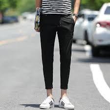 <b>2019 hot sale men's</b> fashion slim fit ankle length pants cropped ...