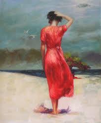 <b>Woman</b> in a <b>Red</b> Dress <b>Oil Painting</b> | Painting, Dress painting, Cross ...