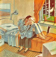 An old woman cuddles a young man on a tragic twin bed