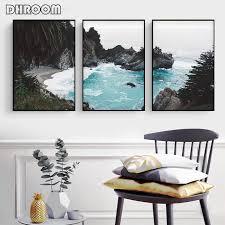 Modern 3 Piece Coastal Poster Print Teal Wall Art Canvas Painting ...
