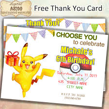 pokemon girl invite hand drawn pokemon birthday party invitation poke ball invitation pikachu invitation 5x7 printable kids boys girls party favors