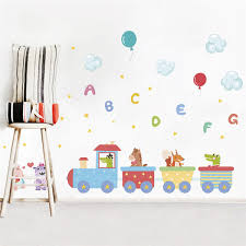 <b>Animals Train English Letter</b> Balloon Wall Stickers For Kids Room ...