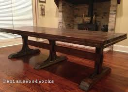 solid wood pedestal dining table handcrafted farmhouse dining table solid wood  ft triple pedestal