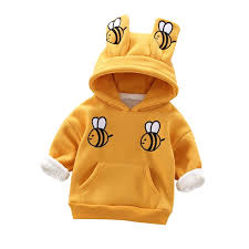 Buy Toddler Boy's <b>Hoodie Cartoon</b> Bee Design <b>Thickened</b> Warm ...
