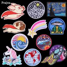 Prajna Animals Fabric <b>Dog</b> Pig <b>Patch Iron</b> On Stickers <b>Cute</b> Flying ...