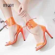 <b>BYQDY New 2020</b> Wedge Heels Orange PVC Jelly Sandals Open ...
