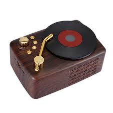 Record Player Shape <b>Wood Grain Retro</b> Speaker Portable Nostalgic ...
