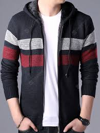 Men's Casual Contrast Color Sweater Fashion Hooded Coat Striped ...