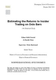 Estimating the Returns to Insider Trading on Oslo B  rs   An     bibsys brage