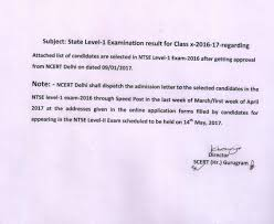monthly assessment class scert haryana ntse level 1 exam 2016 letter result information