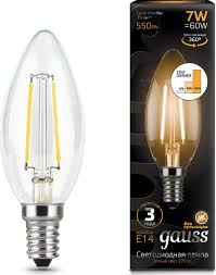 <b>Лампочка Gauss</b> Black <b>Filament</b> LED, свеча, E14, 7W. <b>103801107</b>-<b>S</b>