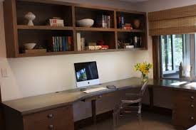 alluring home ideas office design with dark brown wooden l shaped office desk and white monitors alluring home ideas office