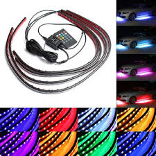 4pcs waterproof rgb <b>car led decoration</b> lights strip underglow neon ...