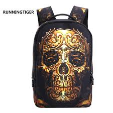 <b>RUNNINGTIGER</b> 3D Skull Laptop Backpack for Men Punk Rock ...