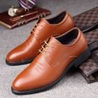 <b>Spring Low To Help</b> Men's Leather Lace Shoes Pointed Men's ...